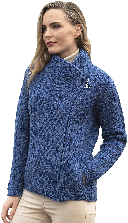 Aran Crafts Women's Irish Cable Knitted Side Zip Cardigan (100% Merino Wool)