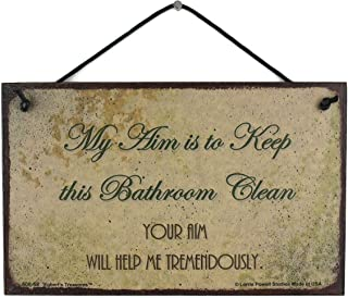 Egbert's Treasures 5x8 Vintage Style Sign Saying, My aim is to Keep This Bathroom Clean. Your aim Will Help me tremendously. Decorative Fun Universal Household Sign for The Bathroom