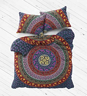 The Boho Street Range of Queen Size 100% Cotton Duvet Cover Sets with Pillow Covers, Indian Reversible Duvet Cover Quilt Cover Coverlet Bohemian Doona Cover Handmade 82