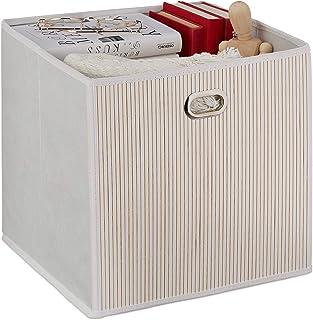 Relaxdays 10034147_49 Panier de Rangement Bambou, Corbeille de Salle de Bain carrée, boîte Haute, 31 x 31 x 31 cm, Pliabl...