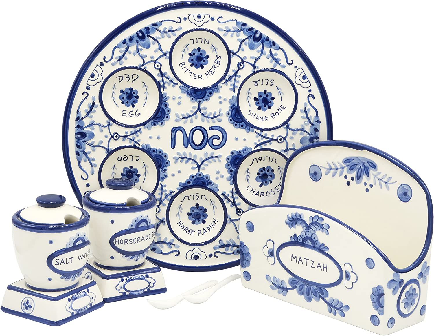 Amazon Com Passover Seder Plate For Pesach Food Ceramic 12 Blue White Delft Look Kitchen Dining