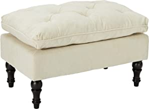 Christopher Knight Home Living Cordoba Tufted Fabric Ottoman Footstool, Cream