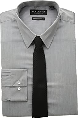 Chambray Stretch Dress Shirt with Houndstooth Tie