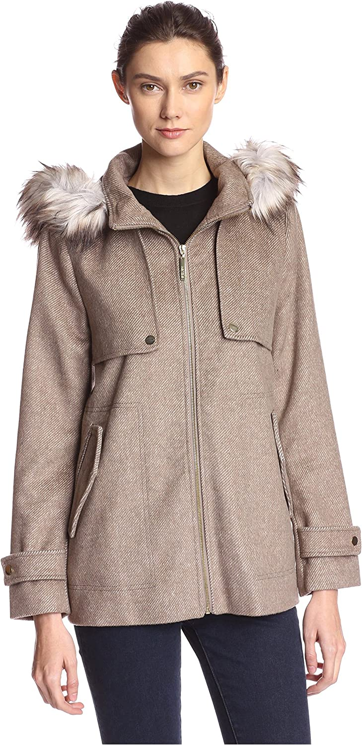 kensie Women's Short Duffle Coat with Front Plackets and Faux Fur Trimmed Hood