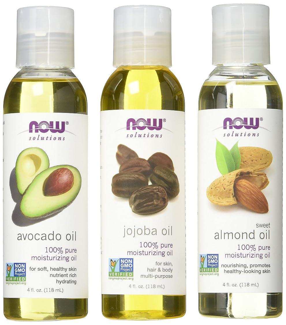 Now Foods Variety Moisturizing Oils Sampler: Sweet Almond, Avocado, and Jojoba Oils - 4oz. Bottles each zu63630892025823