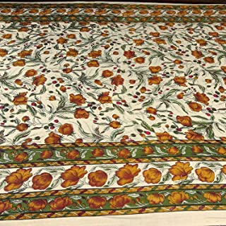 India Arts Handmade 100% Cotton Floral Print Tablecloth Tapestry Coverlet Spread 70