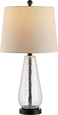 Safavieh Lighting Collection Naila Clear Glass 26-inch Bedroom Living Room Home Office Desk Nightstand Table Lamp (LED Bulb Included)