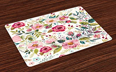 Set of 4 Boho Floral Placemats - Valentina Rose-pink Teal by crystal/_walen Watercolor Roses Cloth Placemats by Spoonflower