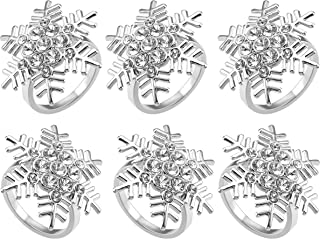 WarmHut Napkin Rings - Set of 6 Christmas Snowflake Napkin Rings for Table Place Settings Dinner Parties Weddings Favors S...