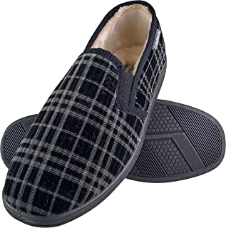 DUNLOP - Mens Indoor Winter Warm Memory Foam Plaid Checked Moccasin Slippers