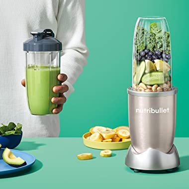 NutriBullet 900W Blender – Champagne Multi-Function Cold Beverage Smoothie Maker – 2 Cup Sizes and Stay Fresh Lid [Internatio