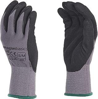 AmazonBasics Micro-Foam Nitrile Coated Work Gloves, Nylon Liner Fiber, Touch Screen, Grey, Size 8, M, 12-Pair