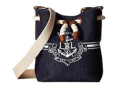 LAUREN Ralph Lauren Dryden Debby II Drawstring Bag (Denim/White Logo) Handbags