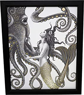 Mermaid and Octopus Original Wall Art Decor - Gold Foil Home Nautical Bathroom Beach Ocean Posters Prints - 8x10 Inches