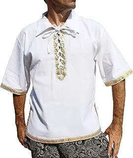 Svenine 欧洲国王狩猎衬衫带丝带装饰短袖复兴