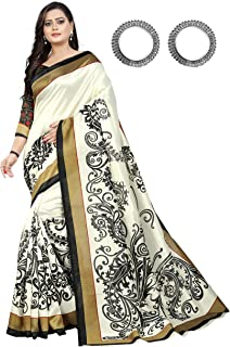 Jaanvi fashion White & Black Bhagalpuri Silk Printed SareeWith Unstitched Blouse