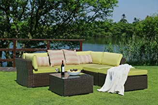 Patio Furniture Set (6 Pieces) Modern Outdoor Furniture Sofas with Seat Cushions Pillows Tea Table Glass Top Lumbar Pad Blanket Fashion Couch Sets for Garden Backyard Pool (Green)