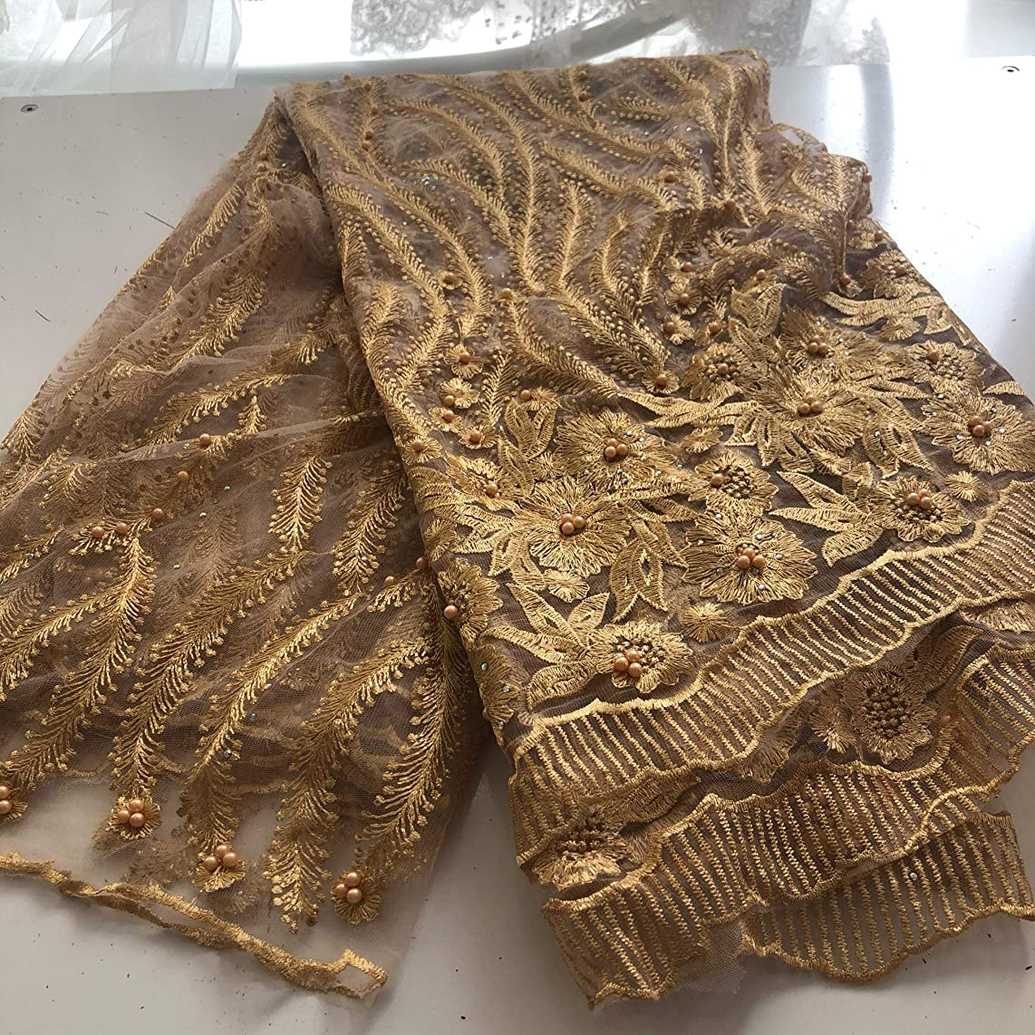 3 Yards African Lace Fabric Nigerian French Beaded Lace Net Fabric Embroidered Fabric for Wedding Party Dress Corded Guipure K7 (Gold)