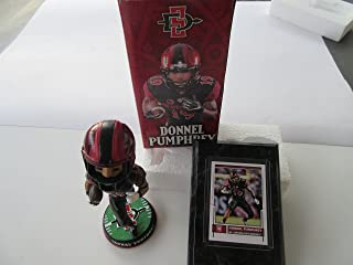 DONNEL PUMPHREY PHILADELPHIA EAGLES SAN DIEGO STATE BOBBLEHEAD & ROOKIE CARD MOUNTED ON A