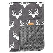 Dear Baby Gear Deluxe Baby Blankets, Custom Minky Print White Antlers, Grey Minky Dot