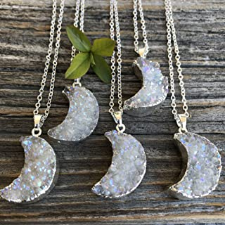 Angel Aura Crescent Moon Druzy Silver Dipped Necklace