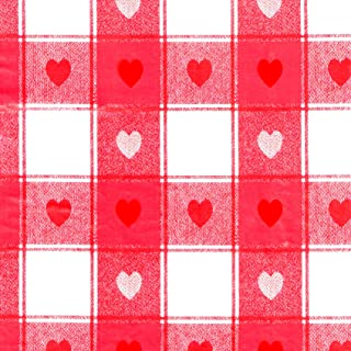LAMINET Stitched Edge Drop Tablecloth - Plaid Hearts - Oval - Fits Tables up to 52 x 70