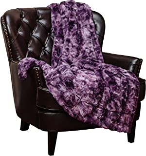 Chanasya Faux Fur Throw Blanket Super Soft Fuzzy Light Weight Luxurious Cozy Warm Fluffy Plush Hypoallergenic Blanket for Bed Couch Chair Fall Winter Spring Living Room (50 x 65) - Aubergine