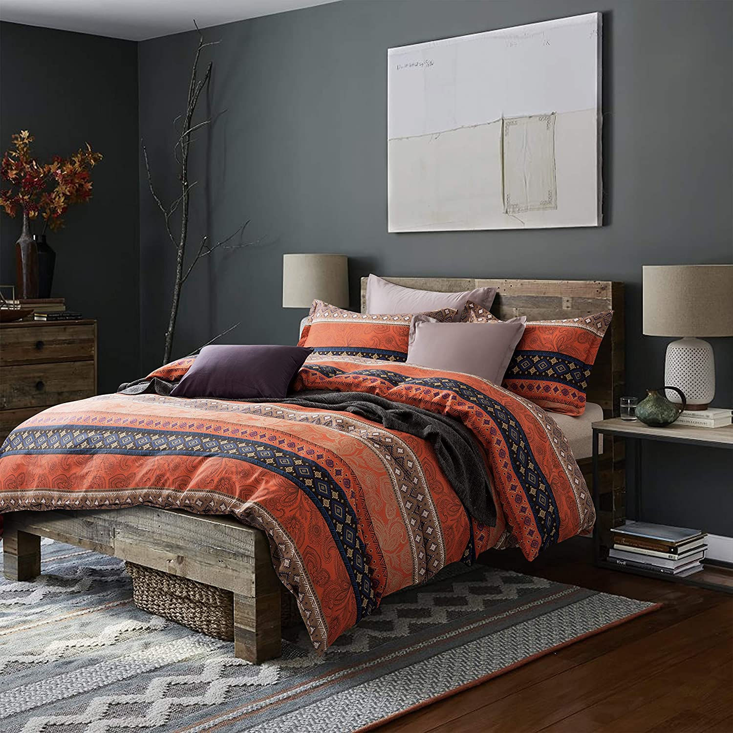 Bohemian Duvet Cover Striped Boho Reversible Max 79% OFF Southwestern Ethnic Super sale period limited