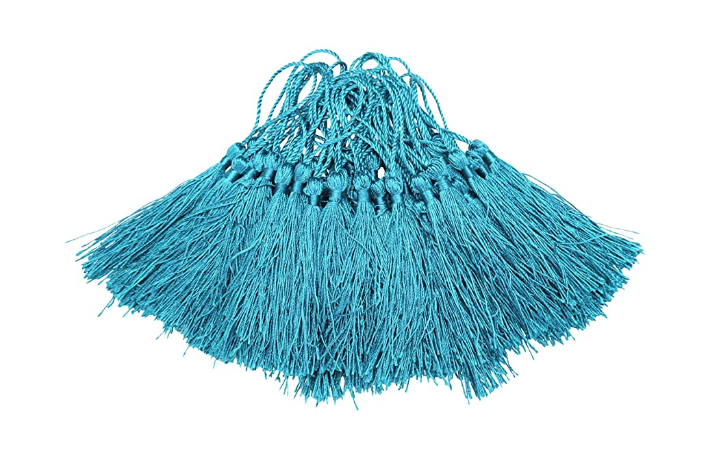 I-MART 100 Pcs 5 inches Silky Tassels for Handmade Jewelry Making, Bookmarks and DIY Projects (Cerulean)