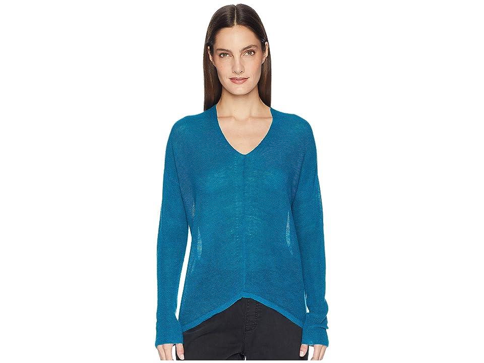 Eileen Fisher Organic Linen Tencel V-Neck Box-Top (Jewel) Women
