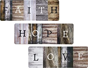 """Rustic Farmhouse Faith Hope Love Christian Home Decor Sign - Solid Wood 17"""" x 6"""" Inspirational Wall Art Signs For Living Room, Dining Room, Kitchen, Bedroom, and Home…"""