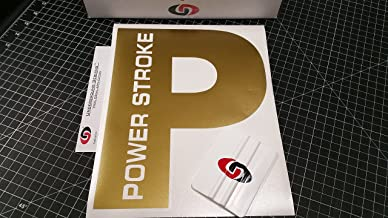 UNDERGROUND DESIGNS Power Stroke Rear Window Decal Tailgate Sticker Kit Select Color (Metallic Gold)