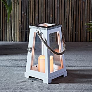 Regular White Wooden Battery Operated LED Flameless Candle Beach Lantern