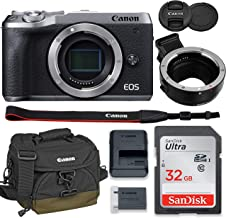 Canon EOS M6 Mark II Mirrorless Digital Camera (Silver) Body Only Kit with Auto (EF/EF-S to EF-M) Mount Adapter + 32GB San...