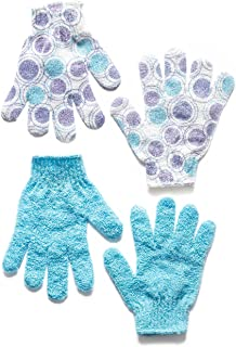 Exfoliating Gloves Longer Lasting Than a Loofah - 2 Pairs of Washable Exfoliating Body Gloves for Smooth Supple Skin