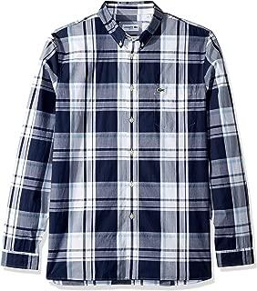 Lacoste Men's L/S Printed Plaid Popeline Stretch Woven Shirt, Navy Blue/White, XL