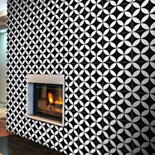 Moroccan Mosaic & Tile House CTP07-07 Amlo 8''x8'' Handmade Cement Tile in Whilte (Pack of 12), Black White