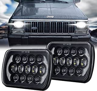 105W 5x7 7x6 Inch High Low Beam Led Headlights for Jeep Wrangler YJ Cherokee XJ H6054 H5054 H6054LL 69822 6052 6053 with Angel Eyes DRL (Black, 2PCS)