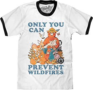 Tee Luv Smokey Bear T-Shirt - Only You Can Prevent Wild Fires Ringer Shirt