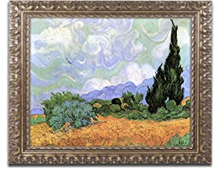 Wheatfield with Cypresses Canvas Art by Vincent van Gogh, 16 by 20-Inch, Gold Ornate Frame