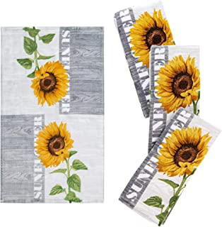 """Franco Kitchen Designers Set of 4 Soft and Absorbent Cotton Dish Towels, 15"""" x 25"""", Sunflower Country"""