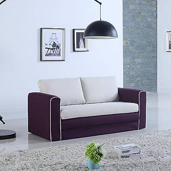 Divano In Memory Foam.Amazon Com Divano Roma Furniture Modern 2 Tone Modular Convertible Sleeper Purple Beige Furniture Decor