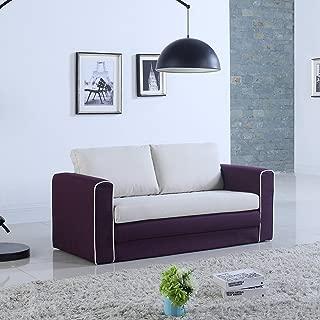 Modern 2 Tone Modular/Convertible Sleeper (Purple/Beige)