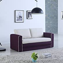 Modern 2 Tone Modular/Convertible Sleeper (Purple/Beige)