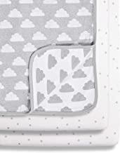 Grey//White Snuz Bedside Crib Fitted Sheets Grey Spot 580 g,BD028BG
