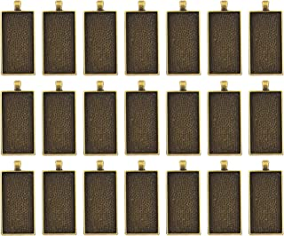 AUEAR, 20 Pack Large Rectangle Pendant Trays Antique Bronze Pendant Blanks Cameo Bezel for Setting Photo Jewelry Making