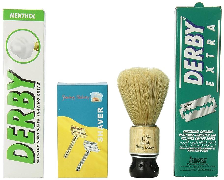 唯一汚染動力学工場SF315ダブルエッジの安全かみそり/剃る工場ハンドシェービングするシェービングブラシLダービーシェービングクリームメントールの香りを作り、ダービーエクストラダブルエッジかみそりの刃のギフト男性用セット