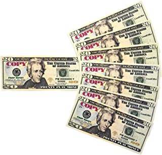 GoodOffer 20 Dollars Play Money – Realistic Prop Money 100 pcs. – Total of $2,000 Copy Money with Two Sides for Pranks, Games, Monopoly – Educational Play Money for Kids – Prop Twenty Dollar Bills
