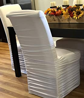 Wedding Linens Inc. Embossed Ruffle Spandex Banquet Fitted Chair Covers, Ruffled Ruched Lycra Stretch Elastic Wedding Party Decoration Chair - White