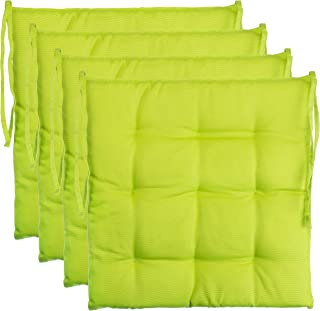 Ensemble de 4 coussins de chaise de jardin / coussin de siège de jardin en polyester - couleur vert